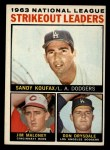 1964 Topps #5   -  Sandy Koufax / Jim Maloney / Don Drysdale NL Strikeout Leaders Front Thumbnail