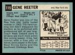 1964 Topps #115   Gene Heeter Back Thumbnail