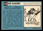 1964 Topps #118   Bob McAdam Back Thumbnail