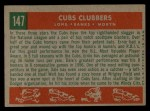 1959 Topps #147  Cubs Clubbers  -  Dale Long / Ernie Banks / Walt Moryn Back Thumbnail