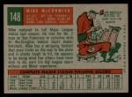1959 Topps #148   Mike McCormick Back Thumbnail