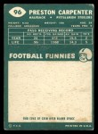 1960 Topps #96   Preston Carpenter Back Thumbnail
