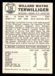 1960 Leaf #134  Wayne Terwilliger  Back Thumbnail