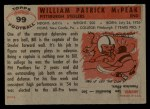 1956 Topps #99   Bill McPeak Back Thumbnail