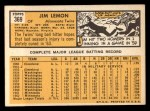 1963 Topps #369   Jim Lemon Back Thumbnail