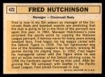 1963 Topps #422  Fred Hutchinson  Back Thumbnail
