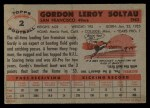 1956 Topps #2   Gordon Soltau Back Thumbnail