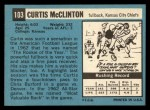 1964 Topps #103   Curtis McClinton Back Thumbnail