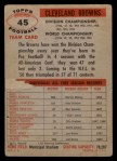 1956 Topps #45  Browns Team  Back Thumbnail