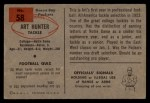 1954 Bowman #58   Art Hunter Back Thumbnail