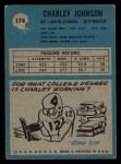 1964 Philadelphia #174   Charley Johnson  Back Thumbnail