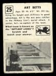 1951 Topps #25  Art Betts  Back Thumbnail