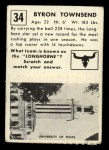 1951 Topps #34  Byron Townsend  Back Thumbnail
