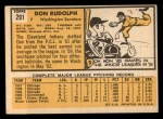1963 Topps #291   Don Rudolph Back Thumbnail