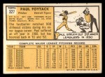1963 Topps #327   Paul Foytack Back Thumbnail
