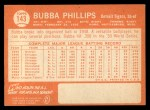 1964 Topps #143   Bubba Phillips Back Thumbnail