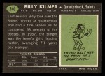 1969 Topps #240   Bill Kilmer Back Thumbnail