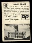 1951 Topps #46  Vinnie Drake  Back Thumbnail