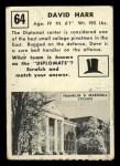 1951 Topps #64  David Harr  Back Thumbnail
