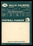 1960 Topps #14   Willie Galimore Back Thumbnail