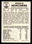 1960 Leaf #19  Don Newcombe  Back Thumbnail