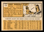 1963 Topps #174   Larry Burright Back Thumbnail