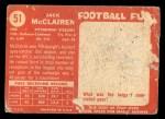 1958 Topps #51   Jack McClairen Back Thumbnail