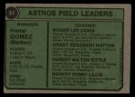 1974 Topps #31  Astros Field Leaders  -  Preston Gomez / Roger Craig / Grady Hatton / Hub Kittle / Bob Lillis Back Thumbnail