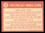 1964 Topps #243  Phillies Rookies  -  Rich Allen / John Herrnstein Back Thumbnail