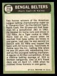 1967 Topps #216  Bengal Belters  -  Norm Cash / Al Kaline Back Thumbnail