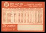 1964 Topps #264   Jim Landis Back Thumbnail