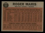1962 Topps #313  Maris Blasts 61st  -  Roger Maris Back Thumbnail