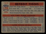 1957 Topps #198   Tigers Team Back Thumbnail