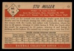 1953 Bowman Black and White #16   Stu Miller Back Thumbnail