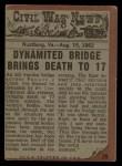 1962 Topps Civil War News #29   Bridge of Doom Back Thumbnail