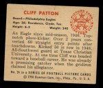 1950 Bowman #24   Cliff Patton Back Thumbnail