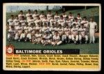 1956 Topps #100 LFT Orioles Team  Front Thumbnail
