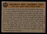 1960 Topps #459  Reds Coaches  -  Reggie Otero / Cot Deal / Wally Moses Back Thumbnail