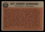 1962 Topps #163 A Hot Corner Guardians  -  Billy Gardner / Clete Boyer Back Thumbnail