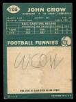 1960 Topps #105  John Crow  Back Thumbnail