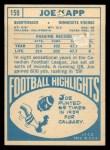 1968 Topps #159   Joe Kapp Back Thumbnail
