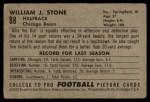 1952 Bowman Small #88   Billy Stone Back Thumbnail