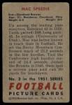 1951 Bowman #3   Mac Speedie Back Thumbnail