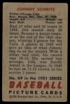 1951 Bowman #69  Johnny Schmitz  Back Thumbnail