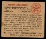 1950 Bowman #143  Norm Standlee  Back Thumbnail