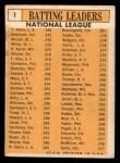 1963 Topps #1  1962 NL Batting Leaders  -  Frank Robinson / Stan Musial / Hank Aaron / Bill White / Tommy Davis Back Thumbnail