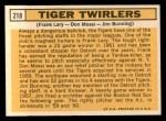 1963 Topps #218  Tiger Twirlers  -  Frank Lary / Don Mossi / Jim Bunning Back Thumbnail