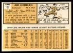1963 Topps #107   Jim Hickman Back Thumbnail