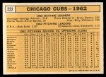 1963 Topps #222  Cubs Team  -    Back Thumbnail