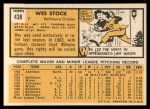 1963 Topps #438   Wes Stock Back Thumbnail
